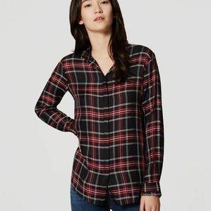 Loft Softened Shirt Plaid Button Down Red Black